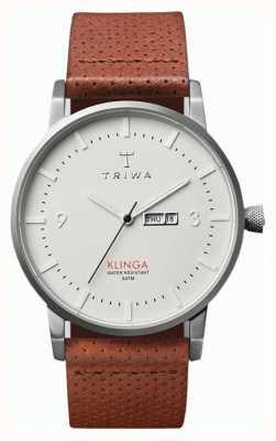 Triwa Unisex Klinga bruin lederen band witte wijzerplaat KLST101-CD010212