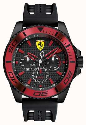 Scuderia Ferrari Mens zwart rubberen band zwarte wijzerplaat rood detail 0830310