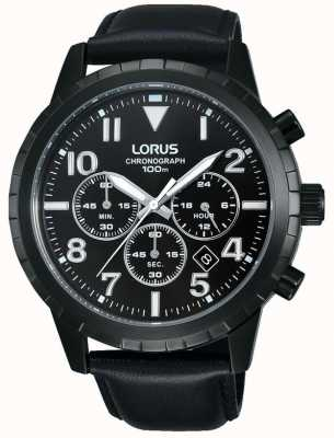 Lorus Mens Black chronograaf zwart lederen band RT365FX9