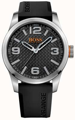 Hugo Boss Orange Mens paris zwart rubberen band zwarte wijzerplaat 1513350