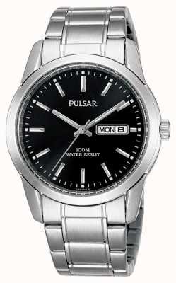 Pulsar   heren   zwarte dag datum wijzerplaat   roestvrij stalen armband   PJ6021X1