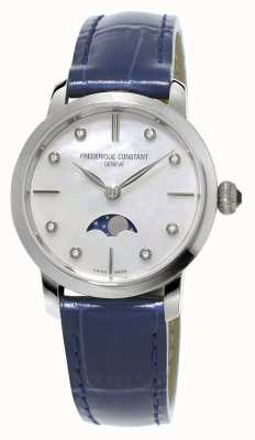 Frederique Constant Womens slimline maanstand diamant set blauwe lederen band FC-206MPWD1S6