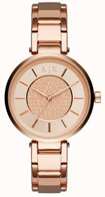 Armani Exchange Womens rose goud pvd verguld steeg dial AX5317