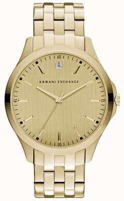 Armani Exchange Mens hampton strak gouden wijzerplaat AX2167