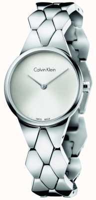 Calvin Klein Womens slang roestvrij stalen armband zilveren wijzerplaat K6E23146
