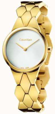 Calvin Klein Vrouwen slang goud pvd armband zilveren wijzerplaat K6E23546