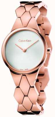 Calvin Klein Womens snake rose goud pvd armband zilveren wijzerplaat K6E23646