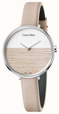 Calvin Klein Womens stijgen beige lederen band beige wijzerplaat K7A231XH