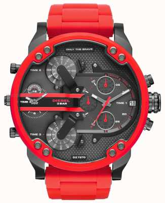 Diesel Mens papa 2,0 rood silicone roestvrij staal DZ7370