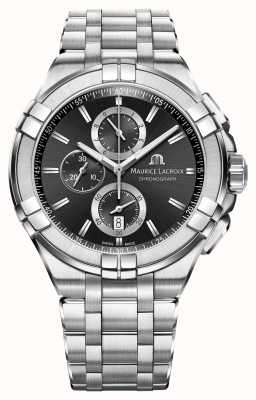 Maurice Lacroix Mens Aikon chronograaf roestvrij stalen armband zwarte wijzerplaat AI1018-SS002-330-1
