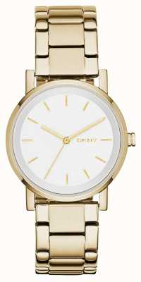 DKNY Womans ronde witte wijzerplaat gouden band NY2343
