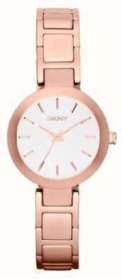 DKNY Womans witte wijzerplaat rose goud band NY2400