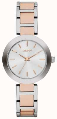 DKNY Womans witte wijzerplaat two tone band NY2402