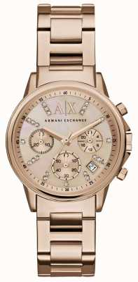 Armani Exchange Womans rose goud chronograaf wijzerplaat rose goud metalen band AX4326