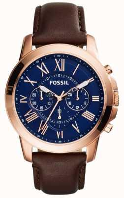 Fossil Mens navy chronograaf wijzerplaat bruin lederen band FS5068