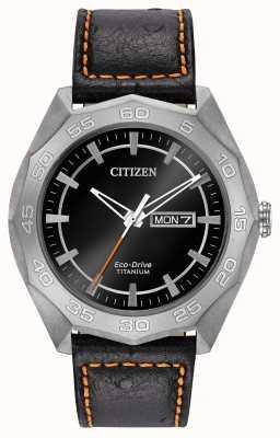 Citizen Mens titanium kast zwart lederen band zwarte wijzerplaat AW0060-03E