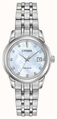 Citizen Vrouwen 11 diamanten roestvrij stalen armband parelmoer EW2390-50D