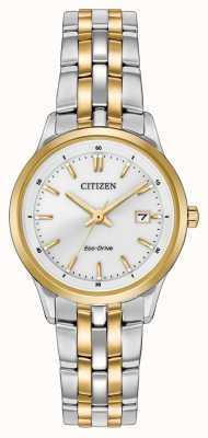 Citizen Vrouwen two tone roestvrij stalen armband witte wijzerplaat EW2404-57A