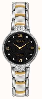 Citizen Vrouwen 24 diamanten two tone armband zwarte wijzerplaat EX1464-54E