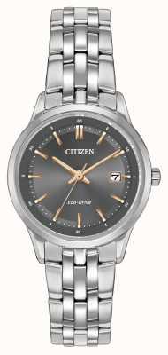 Citizen Dames roestvrij stalen horloge met saffier kristal EW2400-58H