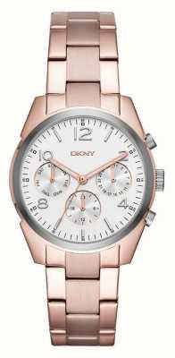 DKNY Womans rose goud verguld metalen band witte chronograaf wijzerplaat NY2472