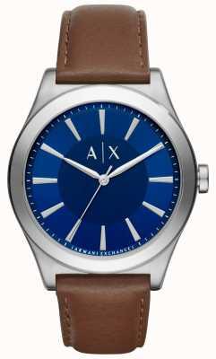 Armani Exchange Mens bruin lederen band blauwe wijzerplaat roestvrijstalen behuizing AX2324