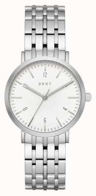 DKNY Womans roestvrij staal zilver gaas riem ronde witte wijzerplaat NY2502