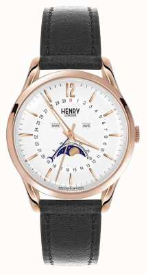 Henry London Richmond rose gouden kast zwart lederen band HL39-LS-0150