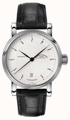Muhle Glashutte Teutonia ii chronometer lederen band zilveren wijzerplaat M1-30-45-LB