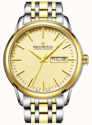 Mannen Dreyfuss two tone gouden horloge 1890 DGB00126/03