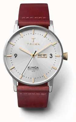 Triwa Unisex glam klinga tan lederen riem zilveren wijzerplaat KLST104-CL010312