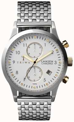 Triwa Mens ivoor Lansen zilver mesh riem witte chronograaf LCST106-BR021212