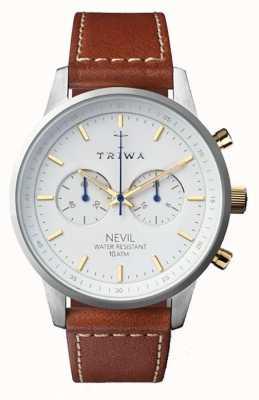 Triwa Mens sneeuw nevil bruin lederen band witte wijzerplaat NEST115-SC010215