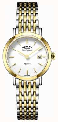 Rotary Womans Windsor two tone zilver goud metalen band LB90154/01