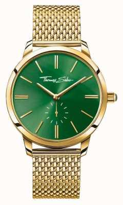 Thomas Sabo Womans glam geest staal goud mesh band groen wijzerplaat WA0275-264-211-33