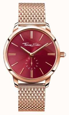 Thomas Sabo Womans glam geest staal rose goud mesh band rode wijzerplaat WA0276-265-212-33