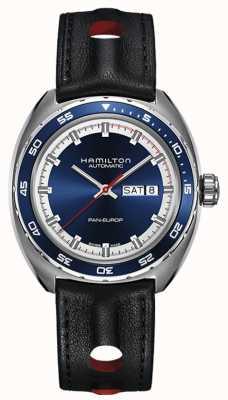 Hamilton Mens pan europ zwart lederen band blauwe wijzerplaat H35405741