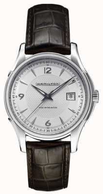 Hamilton Mens Jazzmaster viewmatic zilver leer wijzerplaat band H32515555
