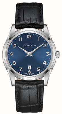 Hamilton Mens Jazzmaster Thinline blauwe wijzerplaat zwart lederen band H38511743