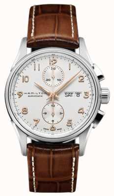 Hamilton Mens Jazzmaster maestro witte chronograaf wijzerplaat lederen band H32576515