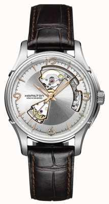 Hamilton Mens Jazzmaster open hart bruine lederen band zilveren wijzerplaat H32565555