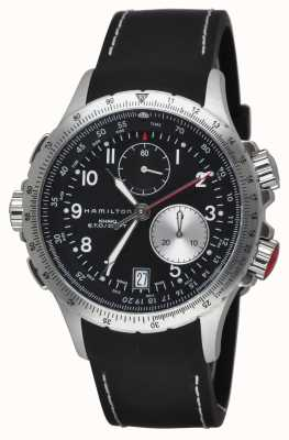 Hamilton Mens khaki eto flyback chronograaf zwarte rubberen band H77612333