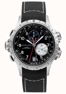 Hamilton Heren kaki eto flyback chronograaf zwarte rubberen band H77612333