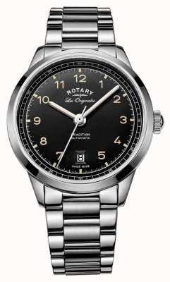 Rotary Mens traditie automatische roestvrij stalen armband zwarte wijzerplaat GB90184/19