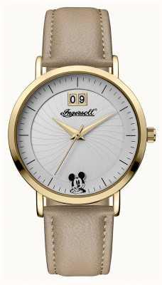 Disney By Ingersoll Dames unie de disney beige lederen band zilveren wijzerplaat ID00503