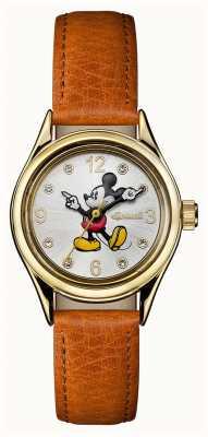 Disney By Ingersoll Dames unie de disney bruine lederen band zilveren wijzerplaat ID00901