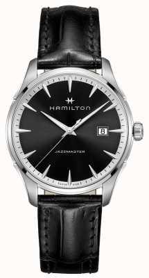 Hamilton Mens Jazzmaster zwart lederen band zwarte wijzerplaat H32451731