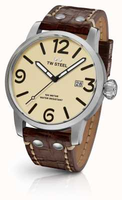 TW Steel Mens maverick cream sandwich wijzerplaat bruine lederen band 45mm MS21