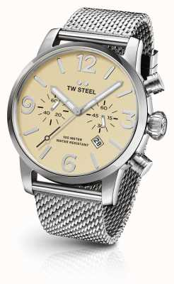 TW Steel Mens maverick staalnetwerk 45mm band crème chronograaf wijzerplaat MB3