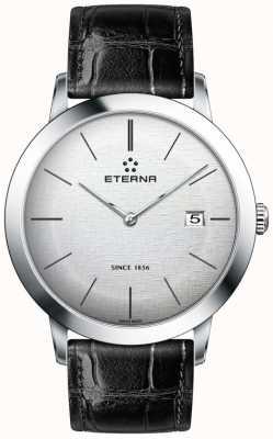 Eterna Mens quartz zilver geborsteld wijzerplaat zwart lederen band 2710.41.10.1383